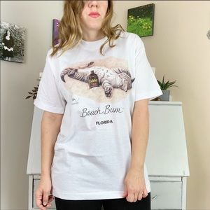 Beach Bum Florida Vintage 50/50 Tabby Cat Tee
